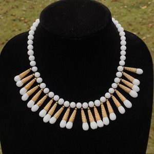 Unique Vintage Napier white milk glass necklace